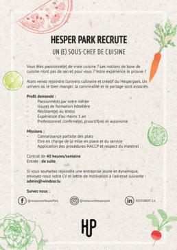offre d'emploi cuisine hesper park à hesperange luxembourg